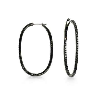 """Desdemona"" Black Diamond Hoops"