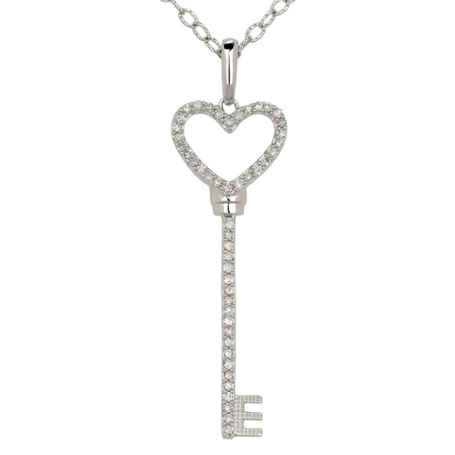 """Chiave"" Collection Diamond Heart Key Pendant"
