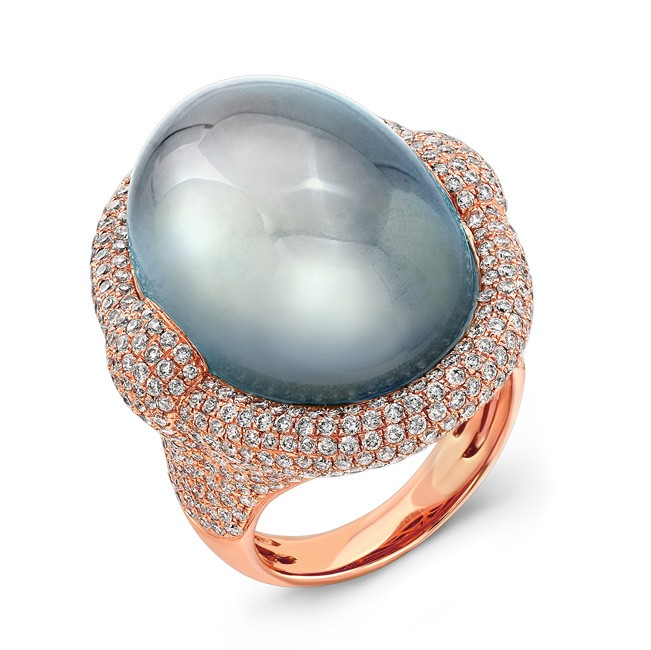 """Celestia"" Moonstone & Diamond Ring"