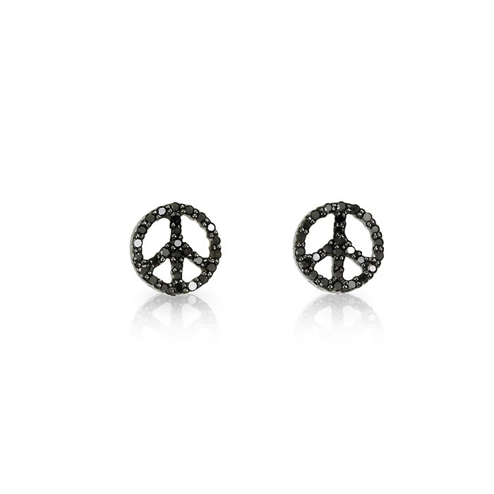 Black Diamond Peace Earrings