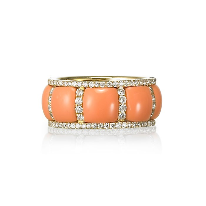 Evangeline Coral Diamond Ring Womens Wedding Eternity Bands