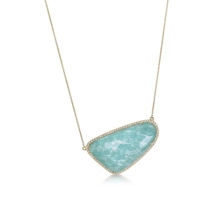 """Azure Piscine"" Amazonite & Diamond Necklace"
