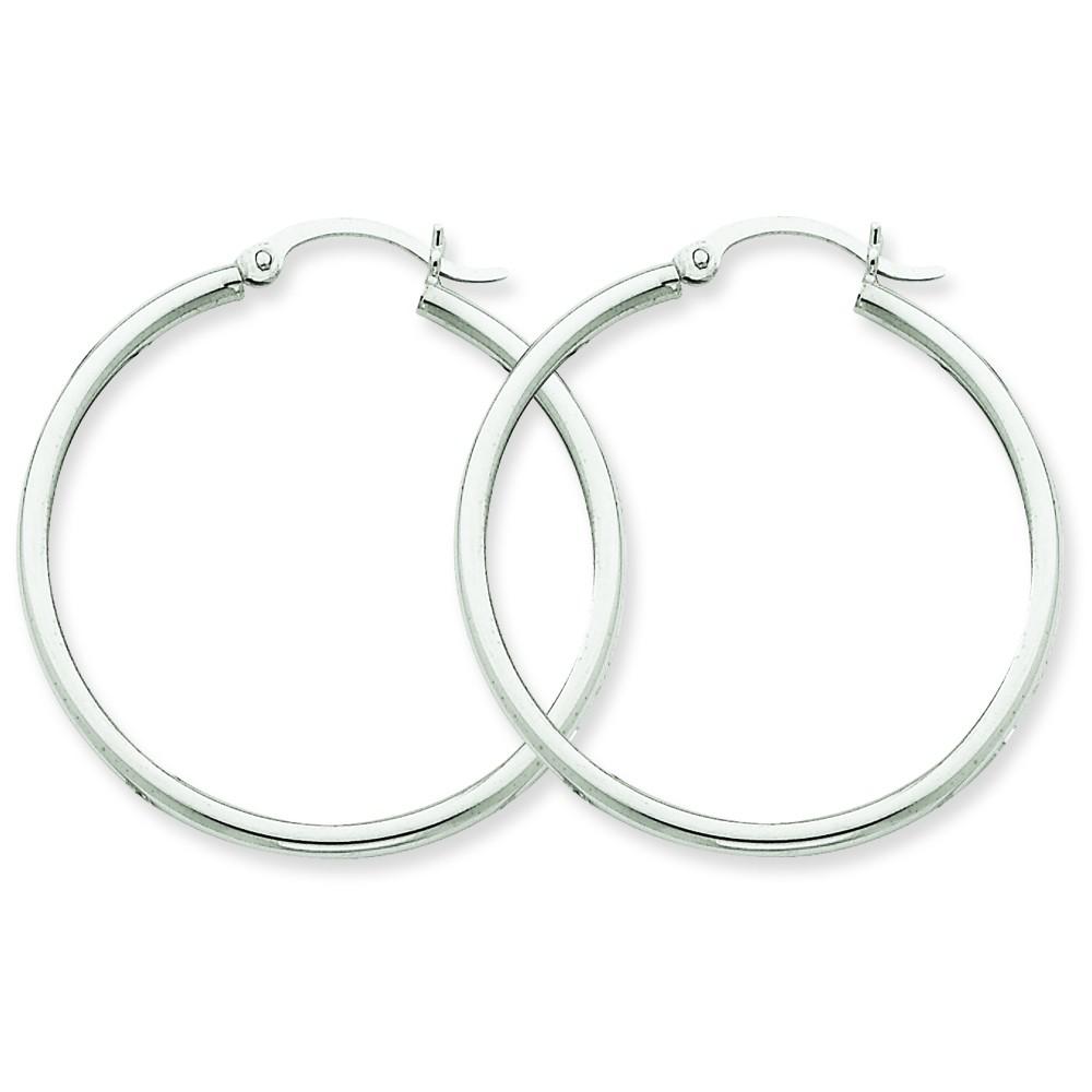 14-karat white gold polish round hoops