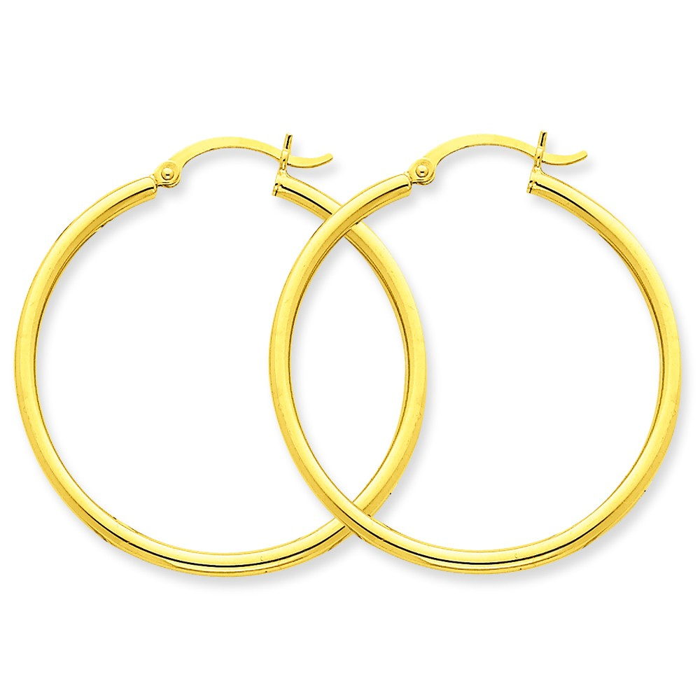 14-karat yellow high polish round hoops