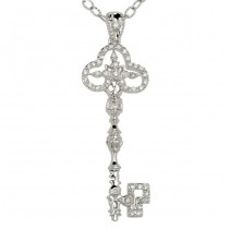 """Chiave"" Collection Diamond Cross Key Pendant"