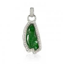 """Neptune"" Jadeite Jade & Diamond Pendant"
