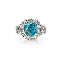 """Alpine Blue"" Zircon & Diamond Ring"