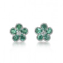 """Victoria Blossoms"" Emerald Earrings"