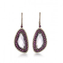 """Madeleine"" Amethyst & Ruby Earrings"