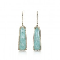 """Azure Piscines"" Amazonite & Diamond Earrings"